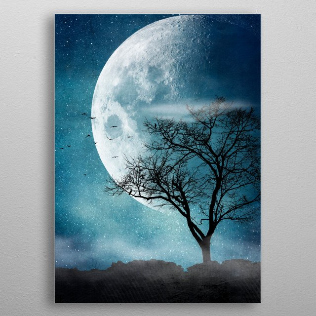 Photomanipulation of a large moon and a bare tree metal poster