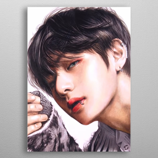 Illustration of  Taehyung, member of BTS metal poster