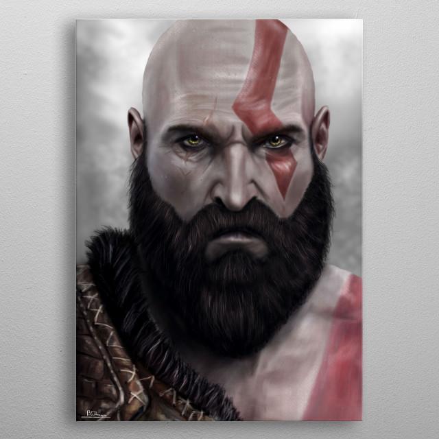 Kratos from God of War metal poster