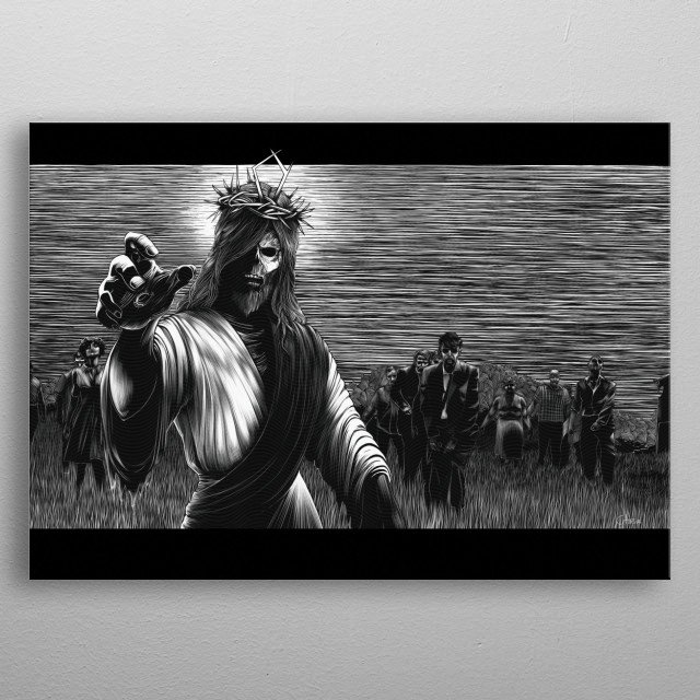 """They're coming to get you, Barbara!"" Another mashup between  The night of the living dead and a well loved religious figure. metal poster"