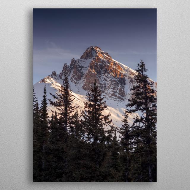 Sunset on Peyto Peak, Banff, Alberta metal poster