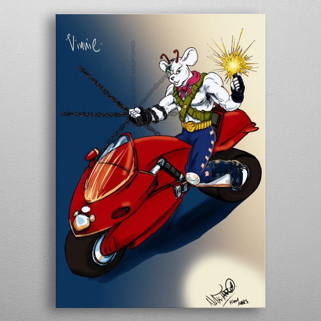 Vinnie from the 90's cartoon BIKER MICE FROM MARS !!! with his cool bike! metal poster