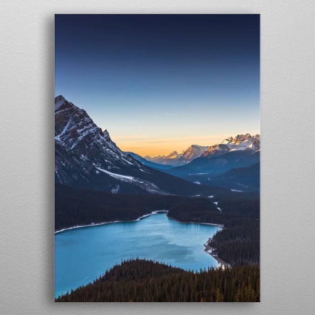 Sunset at Peyto Lake, Banff, Alberta metal poster