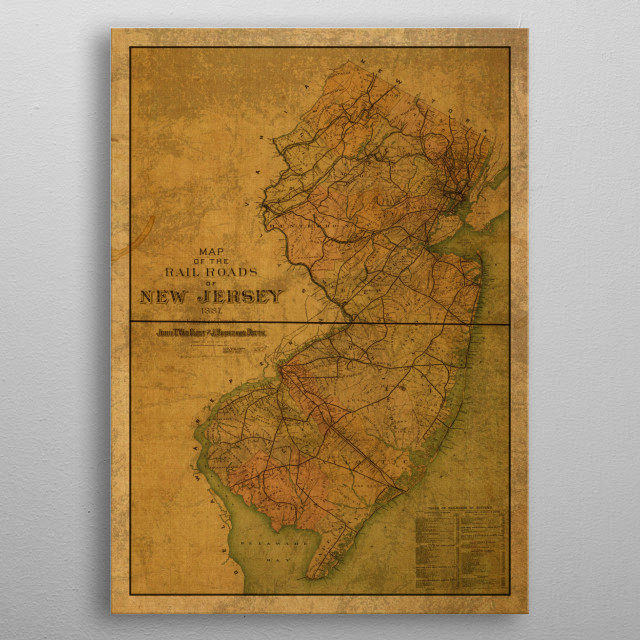 New Jersey Map 1887 metal poster
