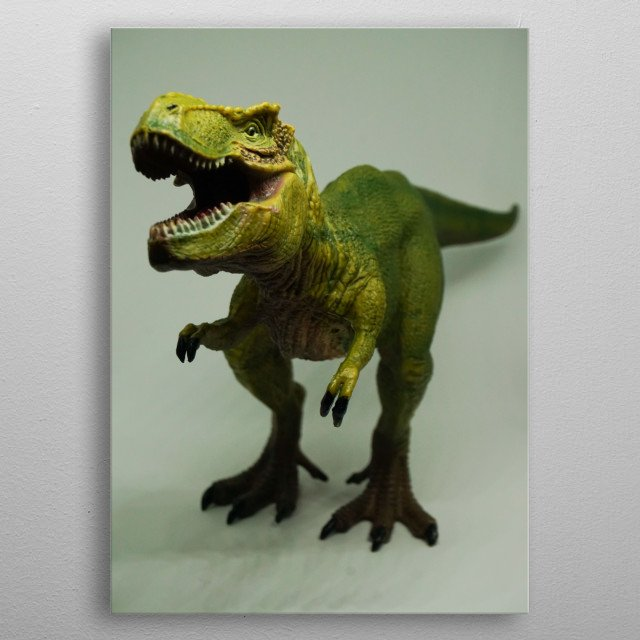 Toy dinosaur with open mouth metal poster