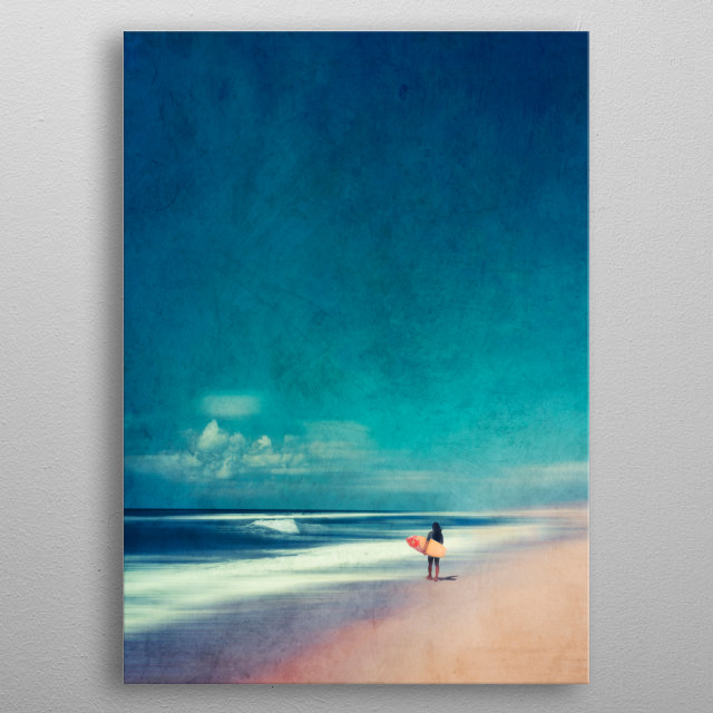 Surfer on his way to the perfect surfing spot metal poster