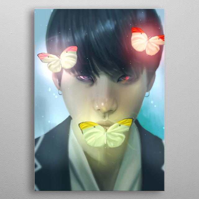 Illustration of Min Yoongi metal poster
