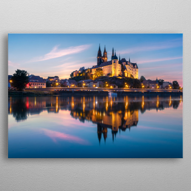 Famous city of Meissen at sunset. metal poster
