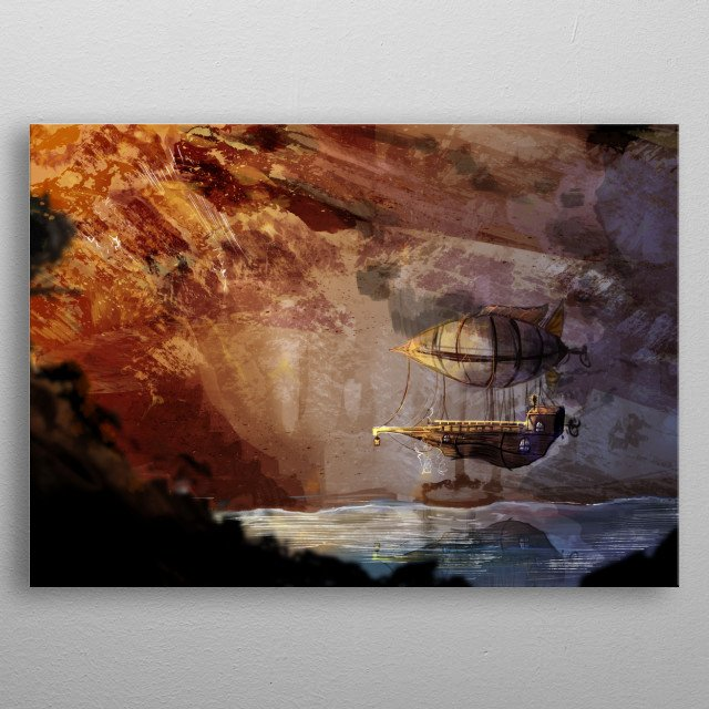 Illustration of a steampunk styled airship floating through a canyon. metal poster