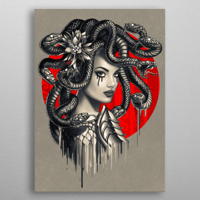 Tattoo inspired artwork featuring snake-headed medusa from Greek mythology metal poster