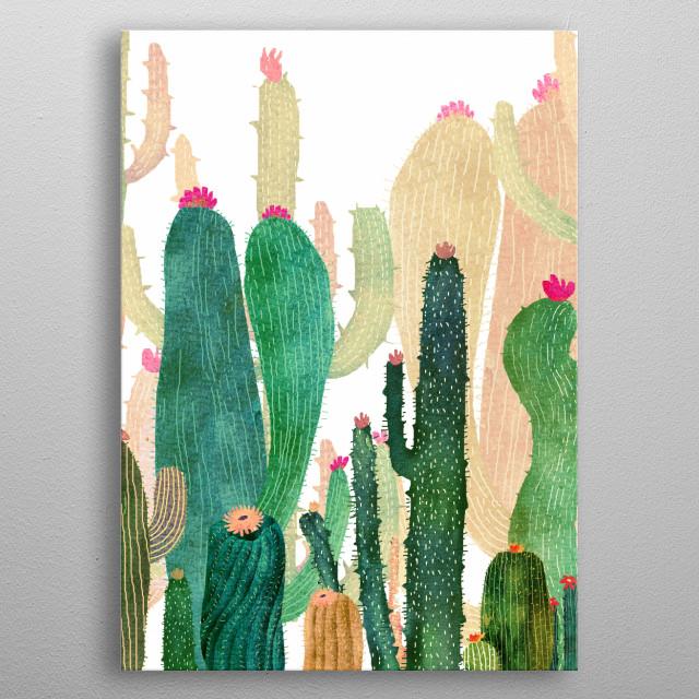 Nature wild cactus metal poster