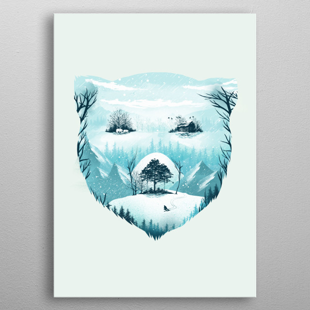 Snow Bear on Wild Winter metal poster