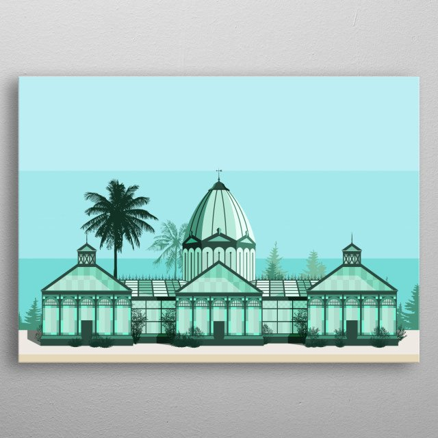 An illustration of the no longer existent Argotti Greenhouse in Floriana, Malta metal poster