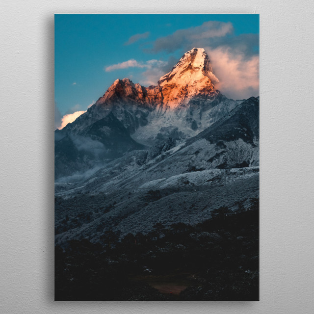 Caught during the golden hour just before sunset, Mount Ama Dablam (Mother's Necklace in Nepalese) glows with maternal warmth metal poster