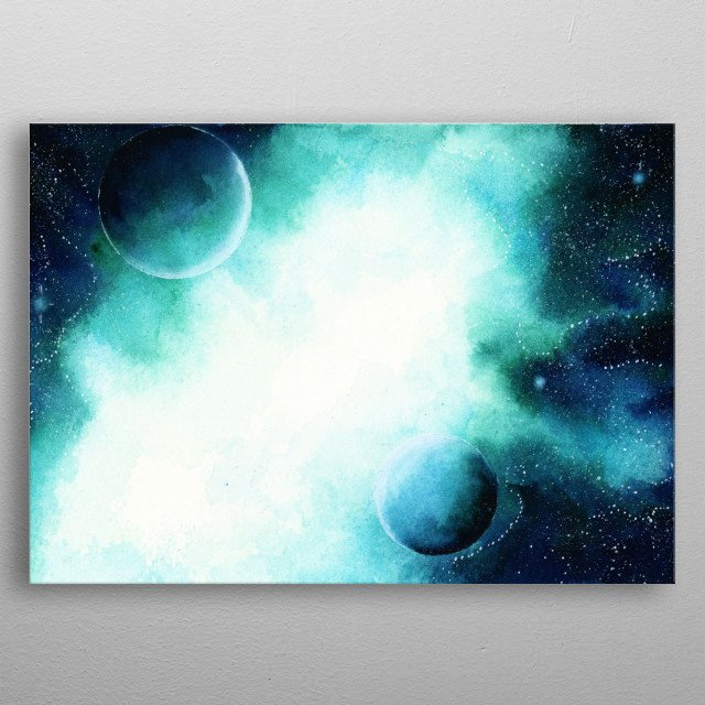 watercolors galaxy  by hand  metal poster