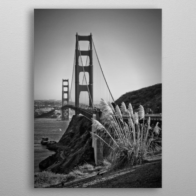 This is a classical architectural cityscape of Golden Gate Bridge from San Francisco. metal poster