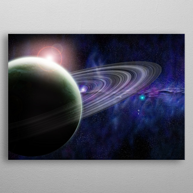 A saturn-like planet with rings, floating in space. metal poster