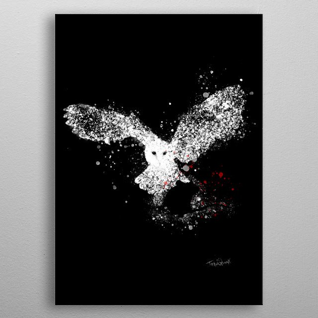 Owl and Mouse splatter art, using negative space. metal poster