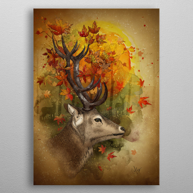 oh, Deer! Autumn Deer on a autumn forest metal poster