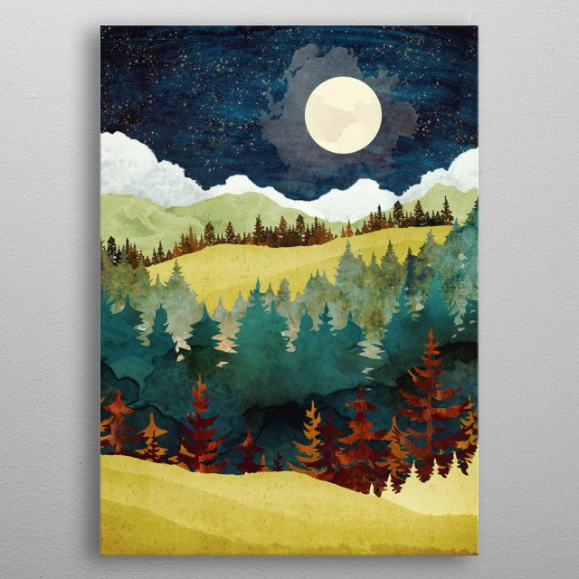 Abstract depiction of an autumn moon with stars, trees and mountains metal poster