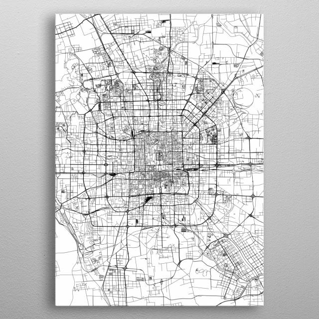 Beijing White Map metal poster