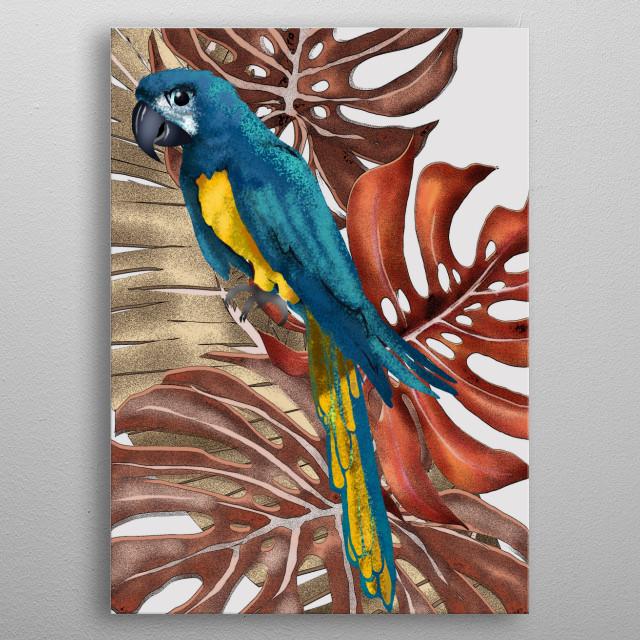 parrot, bird, tropical, tropical, wild, wild animal, animal, animals, canvas, art, digital, drawing  metal poster