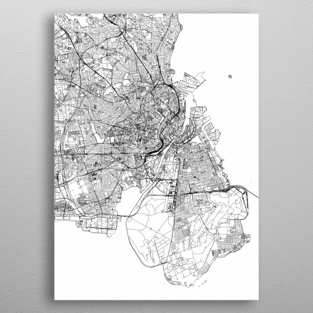Copenhagen White Map metal poster