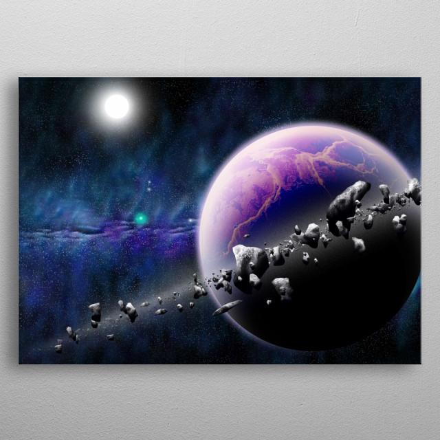 A saturn-like planet with its rings seen from the side. You can see that they're made of asteroids. metal poster