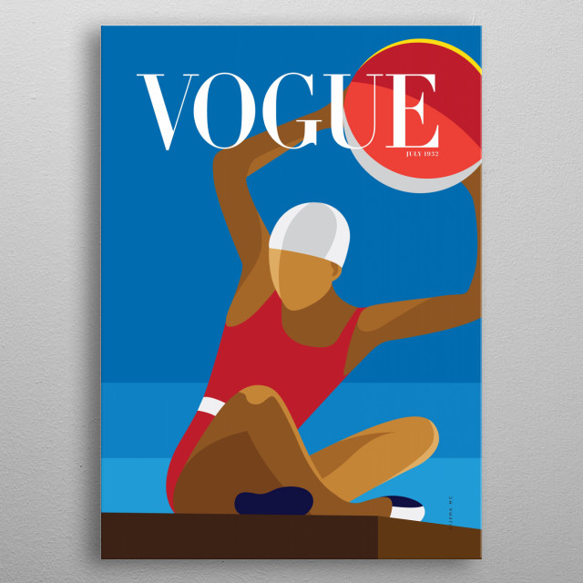 Minimalist illustration of the Vogue's Cover Magazine from July 1932. metal poster