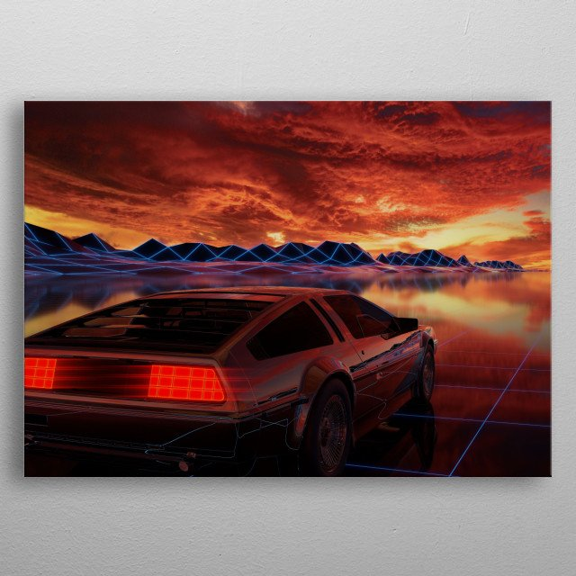 Synthwave DeLorean at sunset metal poster
