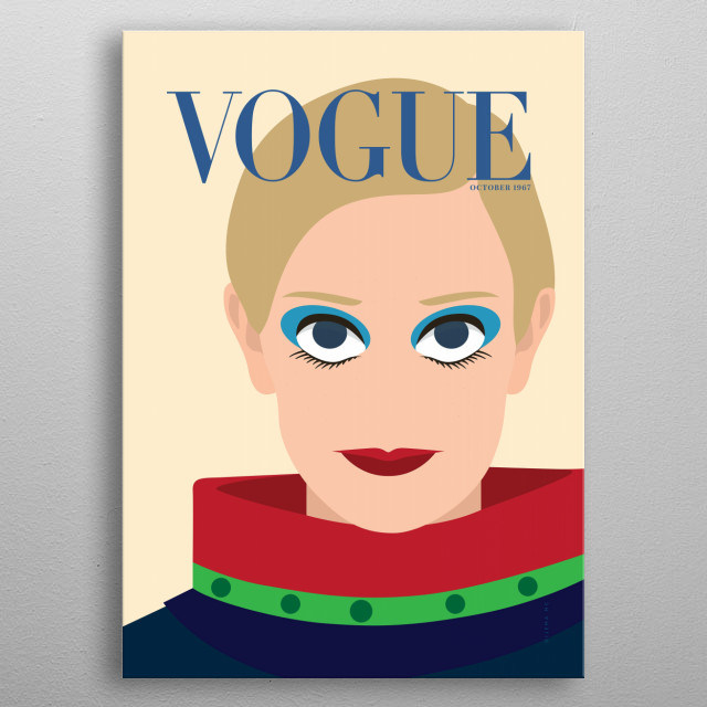 Minimal illustration of Vogue's Cover magazine from October 1967. Iconic Twiggy. metal poster