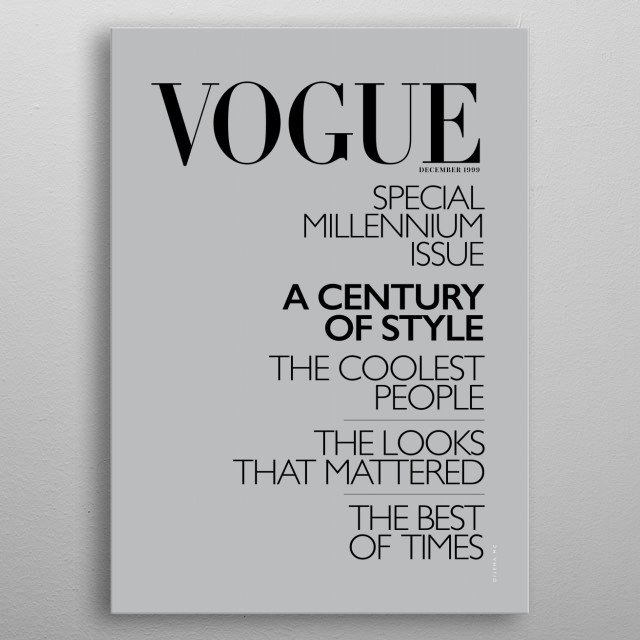 Minimal Illustration of Vogue's Cover magazine from December 1999. metal poster