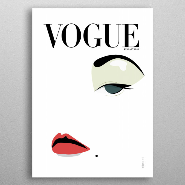 Minimal Illustration of Vogue's Cover magazine from January 1950. metal poster