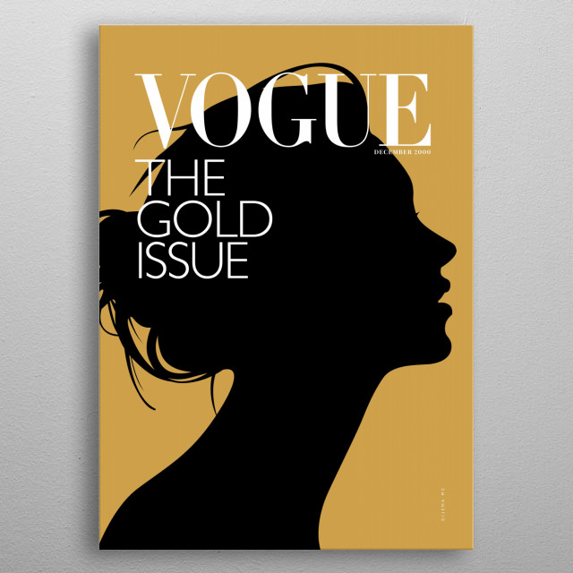 Minimal illustration of Vogue's Cover Magazine from December 2000. metal poster