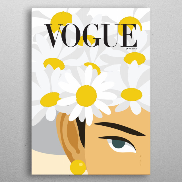 Minimal Illustration of Vogue's Cover magazine from June 1962. metal poster