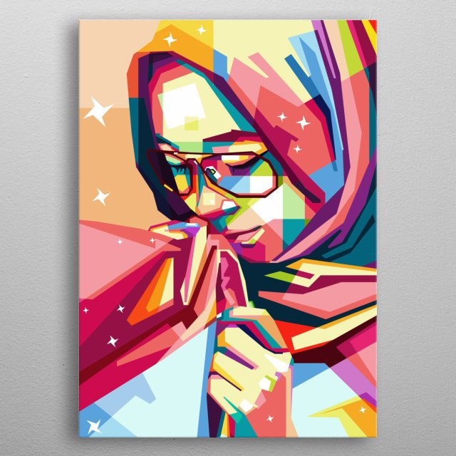 Girl's in 17 August Indonesian independence, in Trace Ilustration Design metal poster