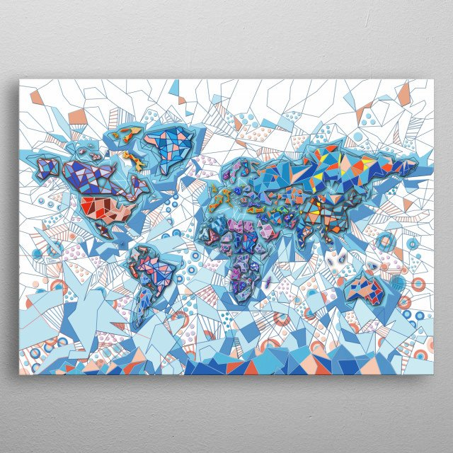 World Map Geometric By Bekim Art Metal Posters Displate