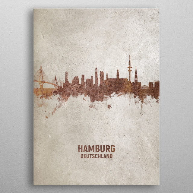 Art print of the skyline of Hamburg, Germany. Rust on concrete. metal poster