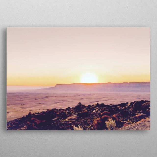 summer sunset over the mountain in the desert in Utah, USA metal poster