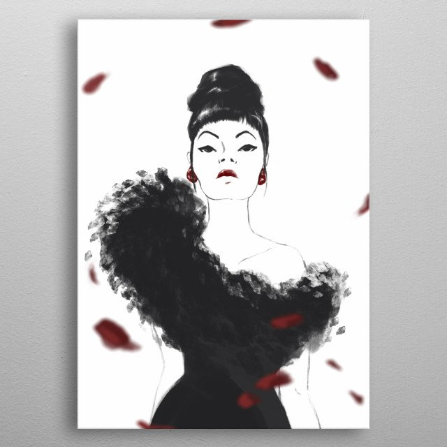 Pure elegance with windy rose petals and sophisticated lady. Minimal and classy. metal poster