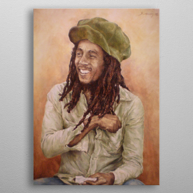 Painting of Bob Marley relaxing and simply enjoying his existence. Inspired by Bob Marley song   Three Little Birds  metal poster