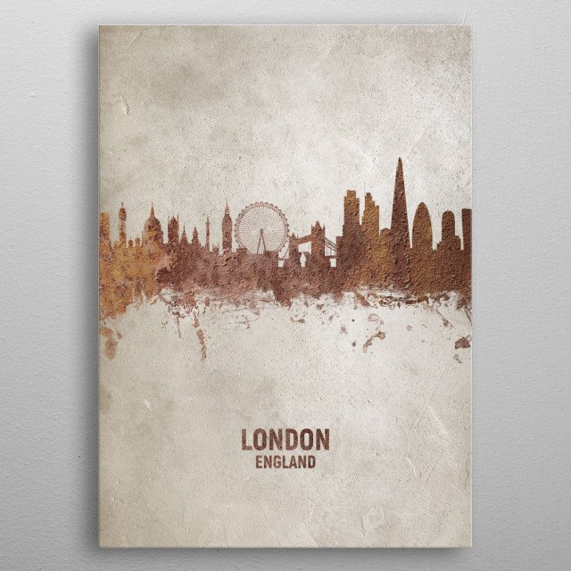 Art print of the skyline of the City of London, England. Rust on concrete. metal poster