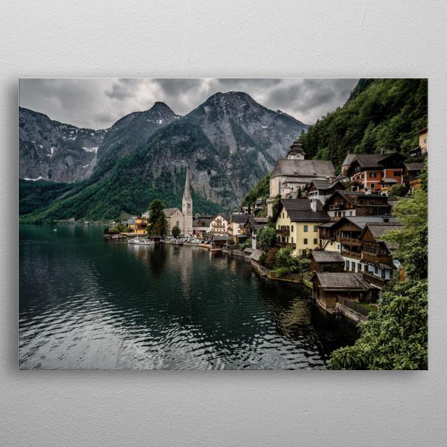 Picturesque village Hallstatt in Austria metal poster