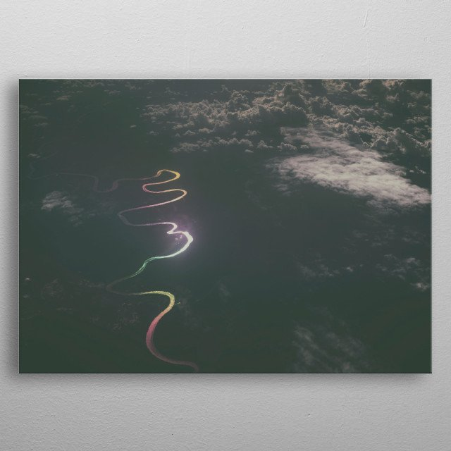 The shot was made from the airplane. A sudden refraction of the light through the glass colored the water of the great river in the rainbow. metal poster