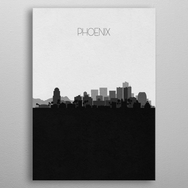 Black and white skyline illustration of Phoenix, Arizona. This minimalist poster features touristic landmarks and buildings of the city. metal poster