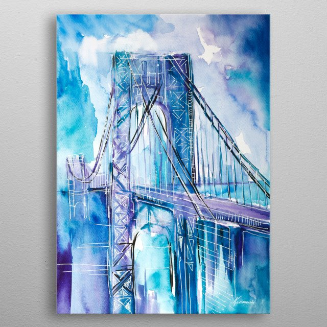 Cityscape painted with watercolor metal poster