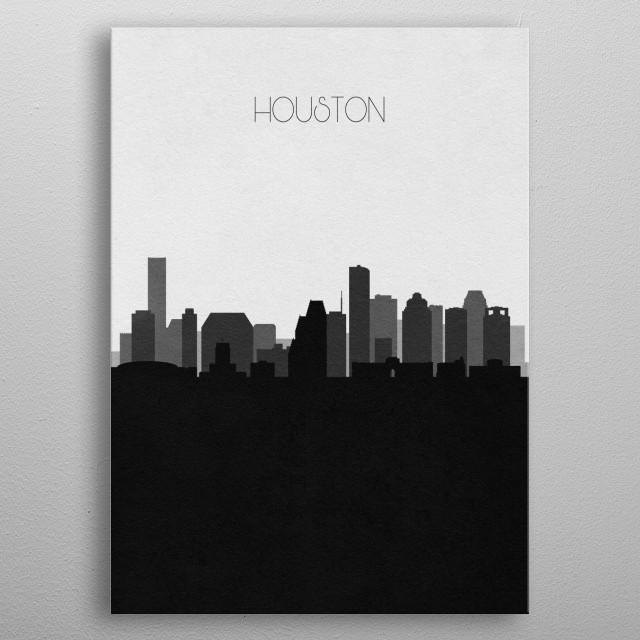 Black and white skyline illustration of Houston, Texas. This minimal design features touristic landmarks and buildings of the city. metal poster