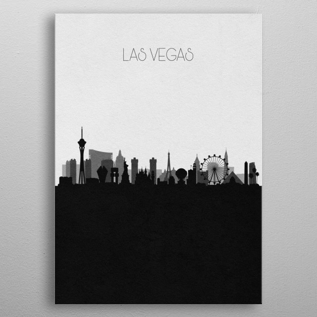 Black and white skyline illustration of Las Vegas, Nevada. This minimal design features touristic landmarks and buildings of the city. metal poster