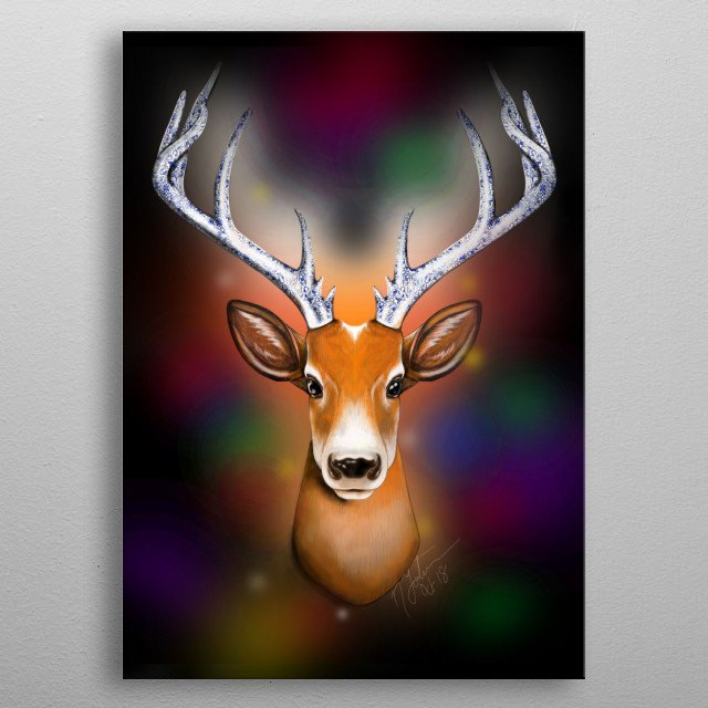A brightly colored Christmas themed reindeer head with an authentic twist of porcelain integration and romantic lit background. metal poster