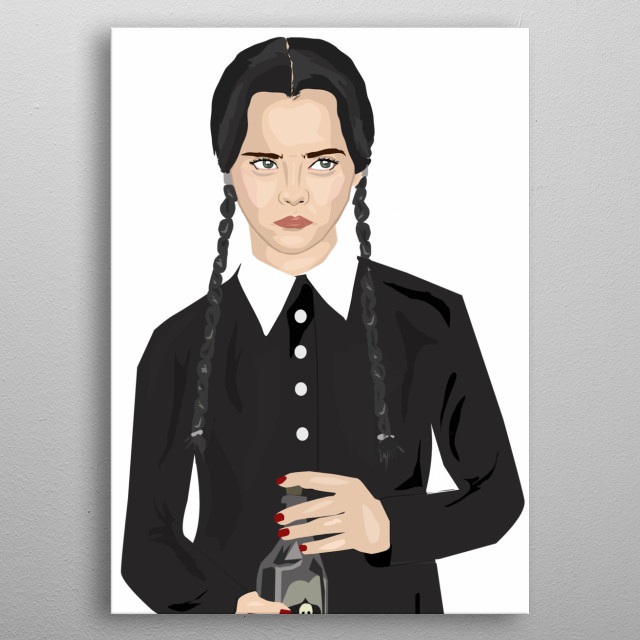 Get spooky with this Addams' family favourite, Wednesday! metal poster